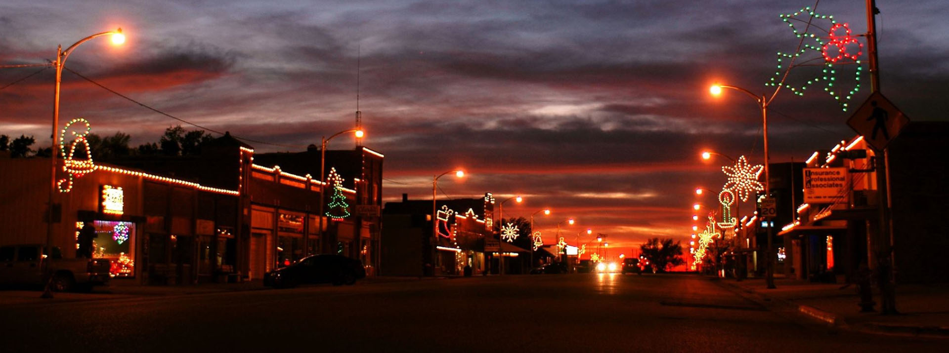 Main Street with Christmas Lights